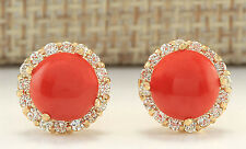 ESTATE 3.65CTW NATURAL CORAL AND DIAMOND EARRINGS 14K SOLID YELLOW GOLD