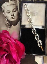 RARE Vintage 1950s 60s JEWELCRAFT CORO Bianco Panna Smalto Braccialetto Tono Oro