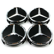4x MERCEDES BENZ ALLOY WHEEL CENTRE CENTER CAPS BLACK 75MM A B C E S ML S Class