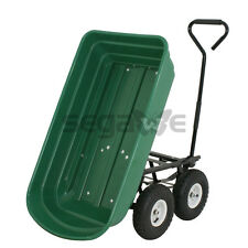 Dump Cart Yard Wagon Utility Garden Hauler Heavy Duty Green Lawn Outdoor Wheels