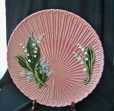 Large Pink German HP Cico Porcelain Plate w Lily of the Valley & Forget-Me-Nots