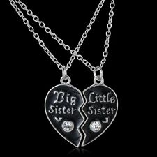 "2pcs HOT ""Big Sister"" And ""Little Sister"" Crystal Heart Necklace Pendant Jewelry"