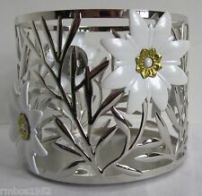 Bath and Body Works Home 3 Wick Candle Sleeve Holder Vine White Flower Silver