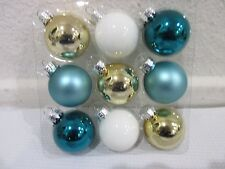 "Coastal Collection Christmas MINI Glass Ball Aqua Gold Ornaments 1.5"" Set of 9"