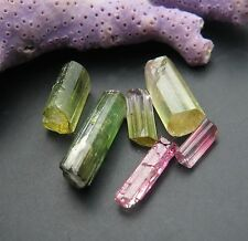 6 BEAUTIFUL TOURMALINE GREEN & PINK CRYSTALS 13.85cts