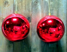 2 - 8'' LARGE OVERSIZE RED CHRISTMAS BALL PLASTIC SHINY 200mm ORNAMENTS 8""