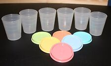 Lot 6 Tupperware Sheer Midgets with Pastel Lids - Mini Containers - New