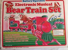 Electronic Musical Christmas Bear Train Set Light Sound Motion Vintage