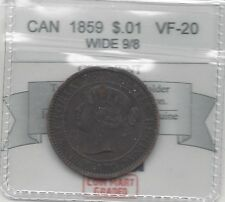 **1859 Wide 9/8**, Coin Mart Graded Canadian, Large One Cent, **VF-20**