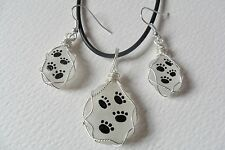Hand painted paw print English sea glass necklace & dangle earrings set