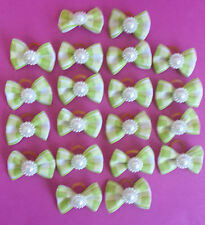 GREEN DOG HAIR BOWS BOBBLES SHOWING SHIT-ZU TOP KNOT YORKIE GROOMING PAIR TWO
