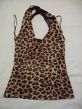 leopard print and brown strapey top open back s/m (JJK.522.16)