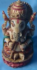 CUTE HAND PAINTED CAMEL BONE HINDU GOD GANESHA/GANPATI STATUE TEMPLE DECORATIVE