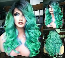 USA | Pastel Blue Green Curly LACE FRONT & Part Ombre Teal Cosplay Dark Root Wig