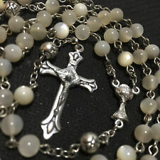 Mother of Pearl Beads First Communion GIFT Rosary Cross CATHOLIC NECKLACE BOX