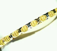 NEW 11.00GM 18K GOLD DIAMOND CUT ART DECO CHAIN LINK BANGLE BRACELET NO SCRAP