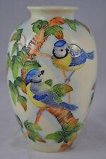 Old Tupton Ware British Tubelined Blue Tits LARGE Vase TW7952