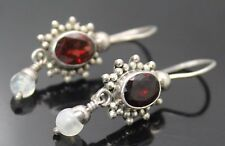 ELEGANT VINTAGE GENUINE GARNET MOONSTONE DANGLE STERLING SILVER HOOK EARRINGS