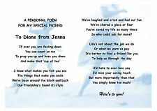 Personalised Gift Poem for special friend, sister, brother, friend, cousin.