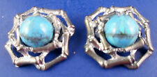 Vintage Signed MUSI Shoe Clips Turquoise and Cast Metal