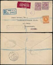 GB POST OFFICE EXPRESS DELIVERY + REGISTERED 1937 to DENMARK + LATE FEE 2d