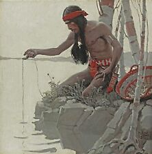 "1908 N.C. Wyeth Artwork,Indian fishing, Native American, 14""x14"" CANVAS art"