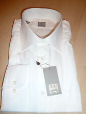 NEW $250 IKE BEHAR Mens Dress SHIRT 18 34 35 white Made in USA Cotton BC GOLDf