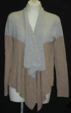 MAGASCHONI 100% Cashmere Gray / Lt Brown Open Cascading Cardigan M $348 NWT