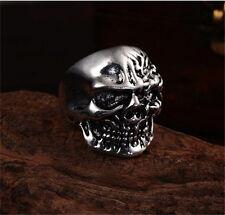 Men's Flower devil design skull head 316L stainless steel fashion Ring size 8