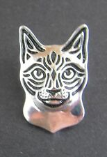 Siamese Cat Brooch or Pin -  Fashion Jewellery - Silver Plated, Stud Back