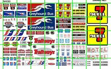 NH090 DAVE'S DECAL 1/2 Set N SCALE BIZ SET MOTEL 7 AD SET BUS DEPOT SIGNAGE SET