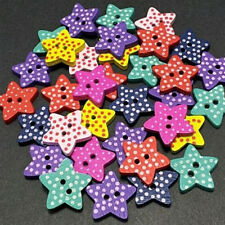 100 Multicolor Star Shape 2 Holes Wood Sewing Buttons Scrapbooking Knopf Bouton