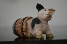 Resin Pig Piglet in a barrel Vintage Collectible #B