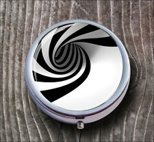 FRACTAL BLACK AND WHITE VORTEX PILL BOX ROUND METAL -ldf5Z