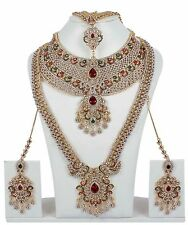 Indian Bollywood CZ Ruby Fashion Earring GoldPlate Bridal Jewelry Necklace 10108