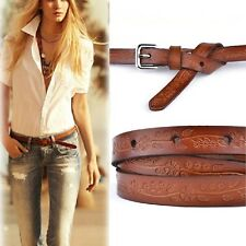 Vintage Fashion Womens Genuine Leather Printing Thin All-match Pin Buckle Belt