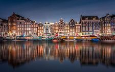 "Red Light District In Amsterdam Cityscape Canvas Print  A1 30"" x 20"""