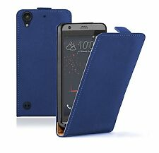 SLIM BLUE Leather Flip Case Cover Pouch For HTC Desire 530 (+2 FILMS)
