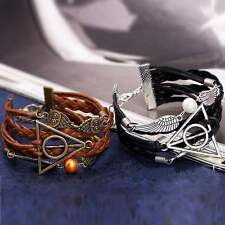 Bracelet en cuir de mode Harry Potter Deathly Hallows Infinity Owl aile d'ange
