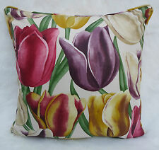 Sanderson Fabric Cushion Cover ~ 'Early Tulips' Aubergine/Cherry  Vintage Prints