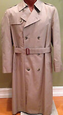 Mens Hart Schaffner Marx Trenchcoat 44 Long Zip Out Lining Trench khaki EXCELL