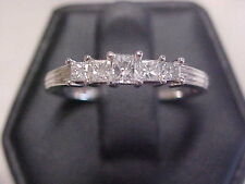 *ESTATE*.74ctw NATURAL 5 PRINCESS CUT DIAMOND BAND-RING 10K WHITE GOLD sz9 GIFT