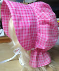 victorian edwardian adult baby fancy dress print bonnet cap hat sissy maid pink