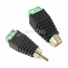 1 Pair Dc Power to RCA Female Male Plug Adaptor Connector For Camera CCTV LED