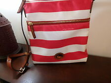 DOONEY & BOURKE RED & CREAM BLUE RUGBY STRIPE NYLON CROSSBODY BAG PURSE NEW