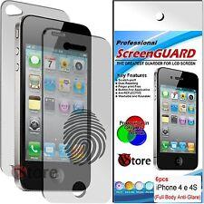 6 Pellicola Opaca Per iPhone 4S 4 Proteggi Schermo 3 Fronte 3 Retro Antimpronta