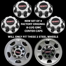 4 Original GMC Sierra Yukon 8 Lug Wheel Center Hub Caps Nut Covers for Steel Rim