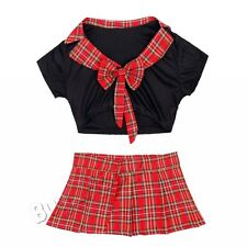 Student Sexy Women School Girl Uniform Tops Play Skirt Tie Cosplay Dress Costume