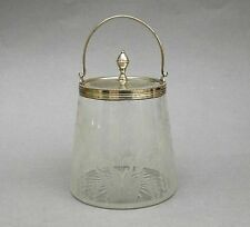 Antique Glass & Silver Plated Preserve Jar ~ Engraved Fern & Floral / Jam Pot