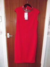 BNWT TED BAKER GORGIYA BRICK RED HIGH NECK EMBELLISHED DRESS SIZE 5 UK 16 £179